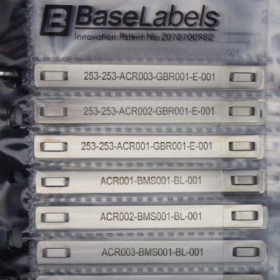 Base Labels stainless steel engraved cable markers