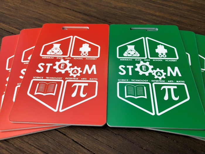 red-and-white-green-and-white-Engraved-Plastic-Labels-Traffolyte-Australia